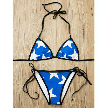 Stylish Halter Sleeveless Star Pattern Women's Bikini Set - BLUE BLUE