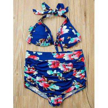 Chic Floral Print Spaghetti Strap Two-Piece Backless Women's Bikini Set