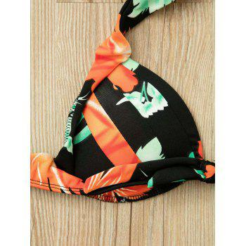 Chic Floral Print Spaghetti Strap Two-Piece Backless Women's 's Bikini Set - Noir XL