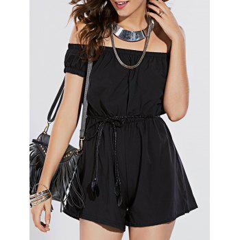 Stylish Women's Off The Shoulder Short Sleeve Belted Romper