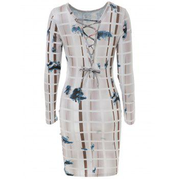 Chic Hollow Out Lace-Up Printed Long Sleeve Bodycon Dress For Women - COLORMIX COLORMIX
