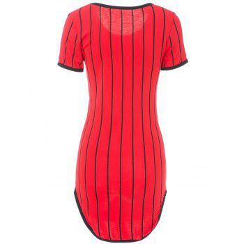 Attractive Striped Letter Printed Short Sleeve Slit Bodycon Mini Dress For Women - M M