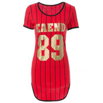 Attractive Striped Letter Printed Short Sleeve Slit Bodycon Mini Dress For Women - RED M