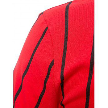 Attractive Striped Letter Printed Short Sleeve Slit Bodycon Mini Dress For Women - RED RED
