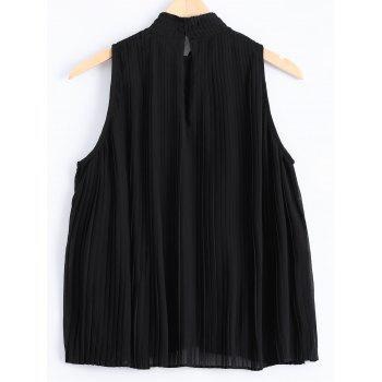 Fashionable Fold Chiffon Sleeveless Top For Women - BLACK ONE SIZE(FIT SIZE XS TO M)