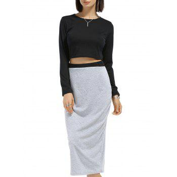 Round Neck Long Sleeve Solid Color Crop Top   Spliced Skirt Twinset