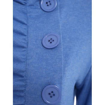 Chic Stand-Up Collar Long Sleeve Single Breasted Jacket For Women - BLUE BLUE