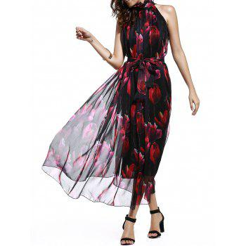 Women's Sweet Stand Collar Sleeveless Tied Floral Print Chiffon Dress