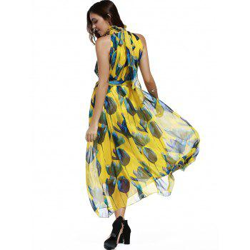 Women's Sweet Stand Collar Sleeveless Tied Floral Print Chiffon Dress - YELLOW L