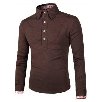 Buy Splicing Design Checked Turn-Down Collar Long Sleeve Men's Polo T-Shirt COFFEE