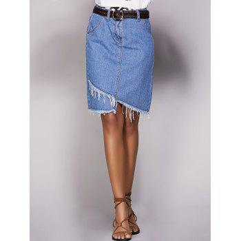 Chic Asymmetrical Pocket Design Women's Denim Skirt