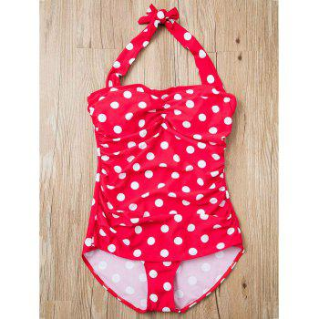 Fashionable Polka Dot Printed Halter One-Piece Swimwear For Women - RED 3XL
