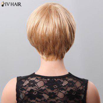Women's Fluffy Neat Bang Short Siv Hair Human Hair Wig - JET BLACK