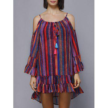 Cold Shoulder Colorful Striped Flouncing Lace-Up Women's Dress