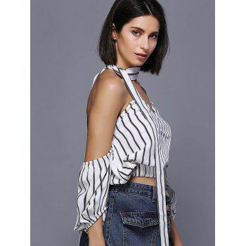 Off The Shouder Lantern Sleeve Striped Tie Embellished Women's Top - WHITE M