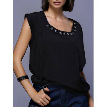 Stylish Asymmetric Sleeve Scoop Neck Rhinestoned Women's Blouse - BLACK BLACK