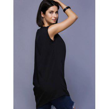 Stylish Asymmetric Sleeve Scoop Neck Rhinestoned Women's Blouse - ONE SIZE(FIT SIZE XS TO M) ONE SIZE(FIT SIZE XS TO M)