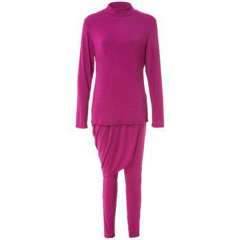 Trendy Long Sleeve Solid Color Asymmetric Dress and Bodycon Pants Suit For Women