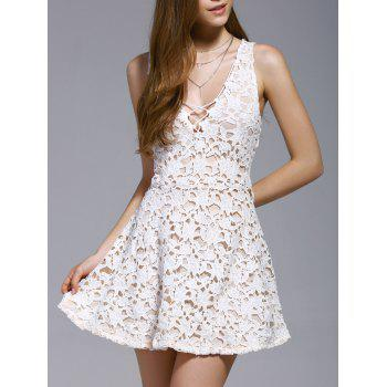 Alluring Women's Plunging Neck Sleeveless Cut Out Lace Dress