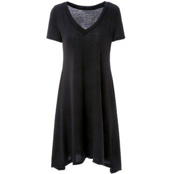 Casual Style V-Neck Short Sleeve Loose-Fitting A-Line Women's Black Dress