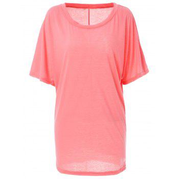 Stylish Boat Neck Short Sleeve Solid Color Women's T-Shirt - PINK PINK