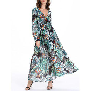 Selva Style Plunging Neck Tie Belt Plant Pattern Women's Dress