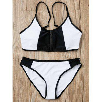 Stylish Black and White Spliced Zip Up Bra and Briefs Bikini Set For Women