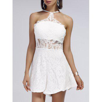 Cut Out Backless Lace Sheer  Romper