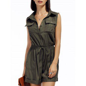 Front Pockets Drawstring Sleeveless Romper