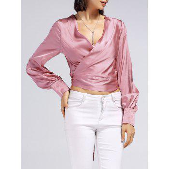 Bowtie V-Neck Long Sleeve  Wrap Blouse