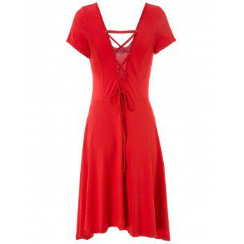 Sexy U Neck Short Sleeve Solid Color Lace-Up Cut Out Irregular Women's Dress - RED RED