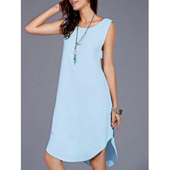 Stylish Women's Scoop Neck Backless High Low Dress