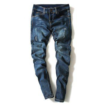 Modish Bleach Wash Scratch Design Narrow Feet Jeans For Men