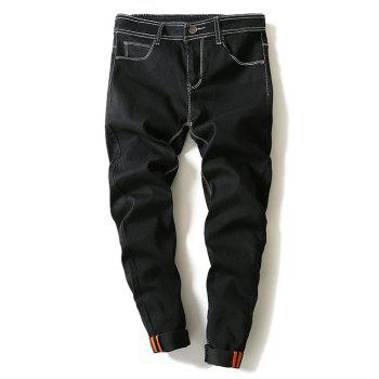 Narrow Feet Contrast Suture Denim Pants