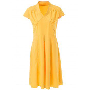 Vintage Short Sleeve V Neck Pure Color Women's Midi Dress - YELLOW L