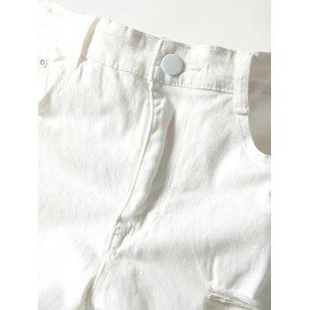 Modish Solid Color Hole Design Narrow Feet Jeans For Men - WHITE 36