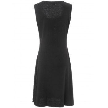 Stylish Women's Scoop Neck Sleeveless Solid Color A-Line Dress - 3XL 3XL