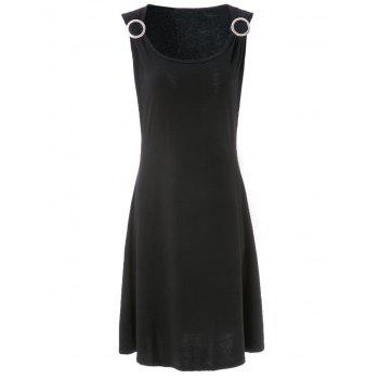 Stylish Women's Scoop Neck Sleeveless Solid Color A-Line Dress - BLACK BLACK