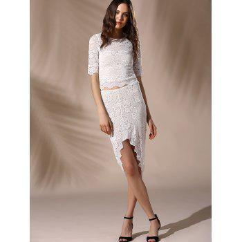 Chic Round Neck Skinny Crop Top + Lace Asymmetrical Skirt Women's Twinset - WHITE M