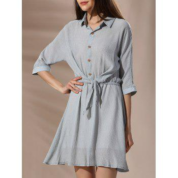 Chic 3/4 Sleeve Shirt Collar Knotted Button-Down Women's Dress