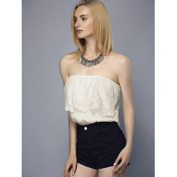 Flounce Embroidered Tube Top - WHITE M