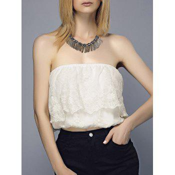 Flounce Embroidered Tube Top