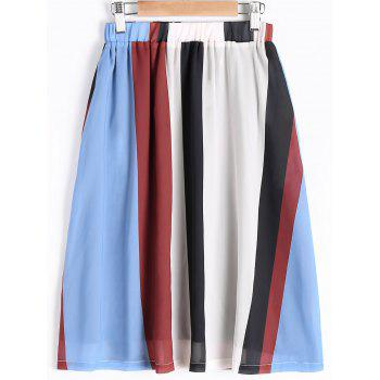 Elegant High Waist Stripe Color Block Skirt For Women