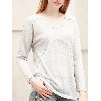 Casual Women's Long Sleeve Scoop Neck Solid Color T-Shirt