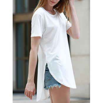 Simple Style Women's Short Sleeve Round Neck Slit T-Shirt