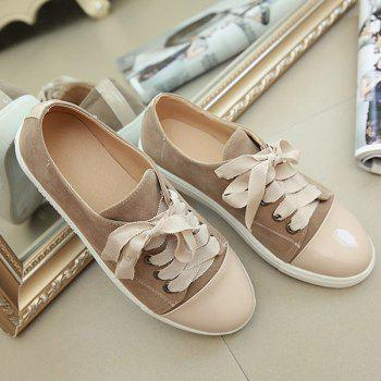 Simple Colour Block and Lace-Up Design Women's Athletic Shoes - CAMEL 39