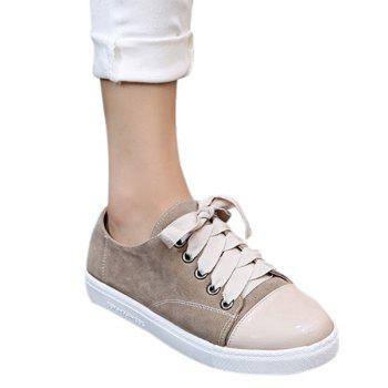 Simple Colour Block and Lace-Up Design Women's Athletic Shoes
