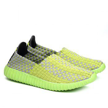 Leisure Breathable and Weaving Design Women's Athletic Shoes - NEON GREEN 40