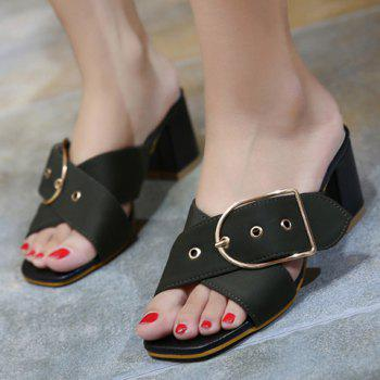 Trendy Cross Straps and Buckle Design Women's Slippers - 39 39