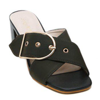 Trendy Cross Straps and Buckle Design Women's Slippers - ARMY GREEN ARMY GREEN